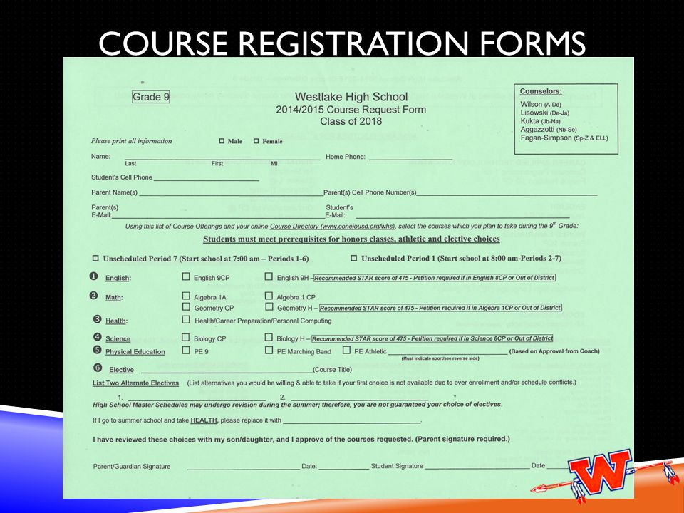 COURSE REGISTRATION FORMS