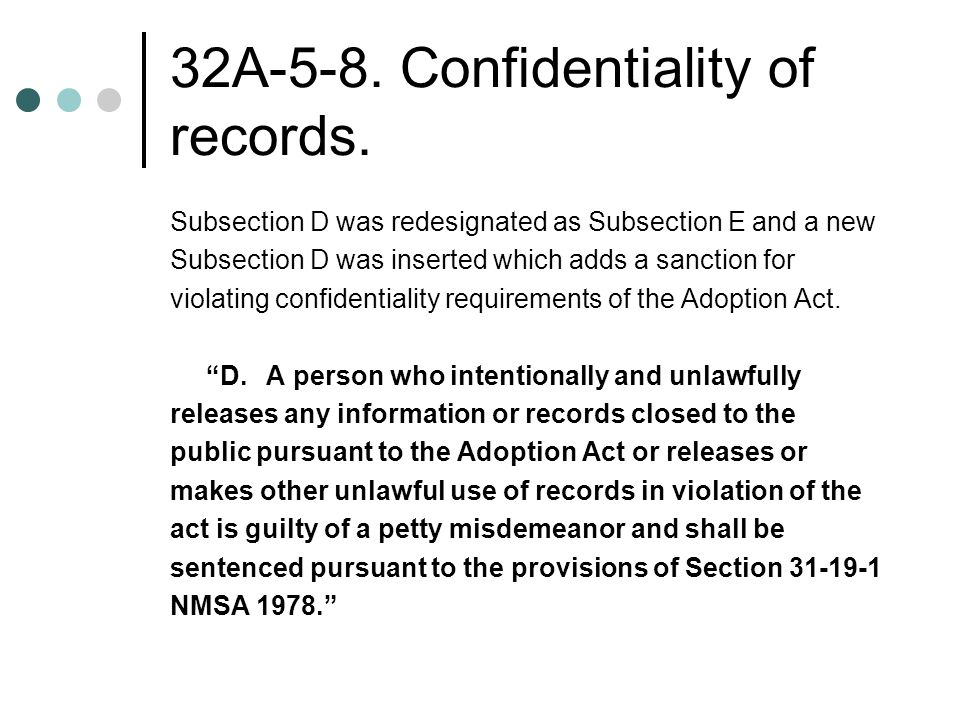 32A-5-8. Confidentiality of records.
