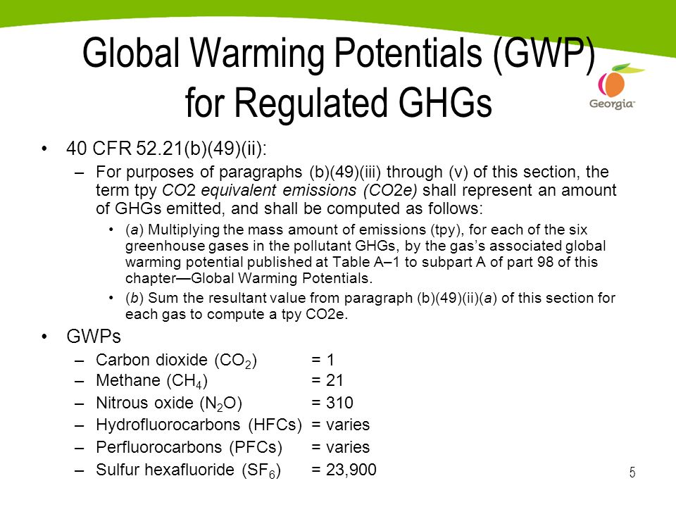 5 Global Warming Potentials (GWP) for Regulated GHGs 40 CFR 52.21(b)(49)(ii): –For purposes of paragraphs (b)(49)(iii) through (v) of this section, the term tpy CO2 equivalent emissions (CO2e) shall represent an amount of GHGs emitted, and shall be computed as follows: (a) Multiplying the mass amount of emissions (tpy), for each of the six greenhouse gases in the pollutant GHGs, by the gas's associated global warming potential published at Table A–1 to subpart A of part 98 of this chapter—Global Warming Potentials.