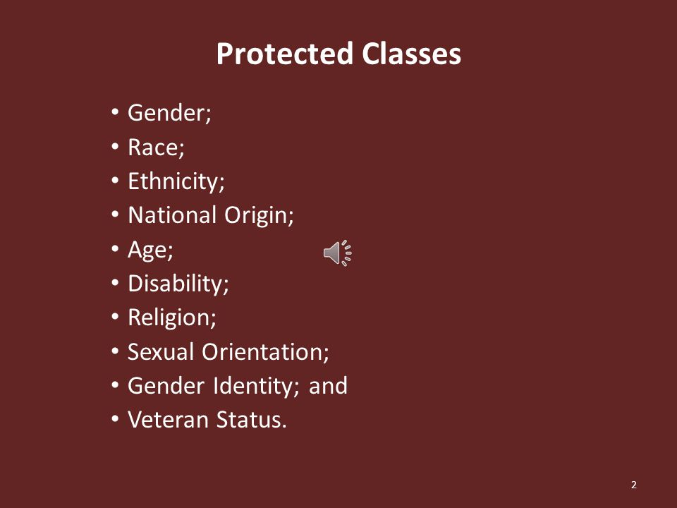 Is sexual preference a protected status
