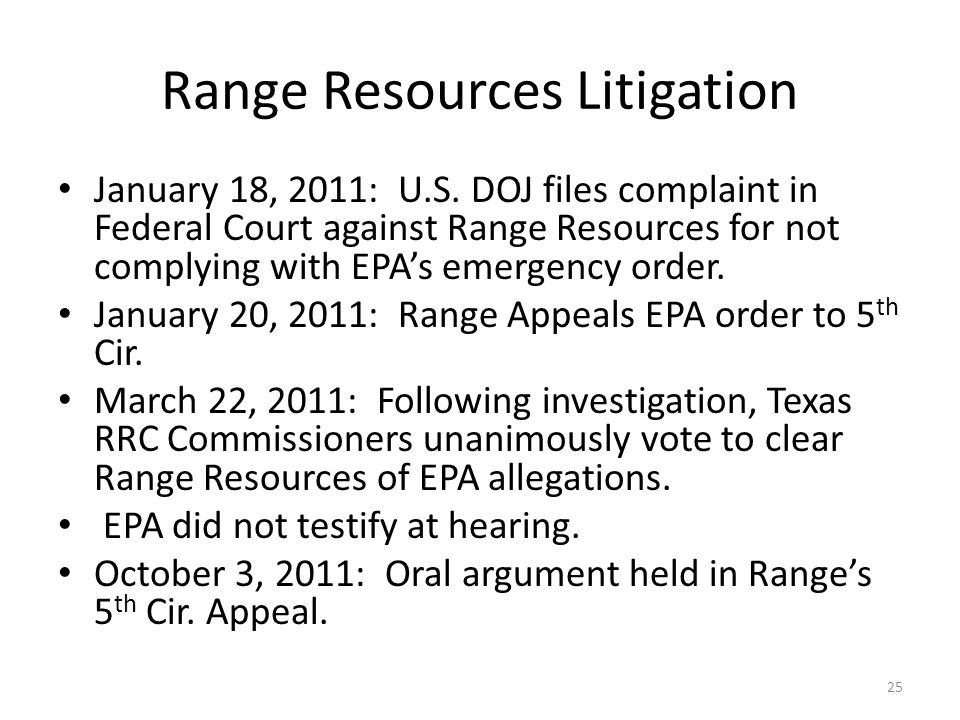 Range Resources Litigation January 18, 2011: U.S.