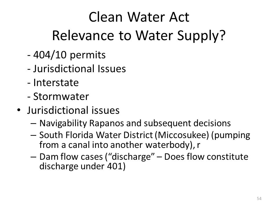 Clean Water Act Relevance to Water Supply.