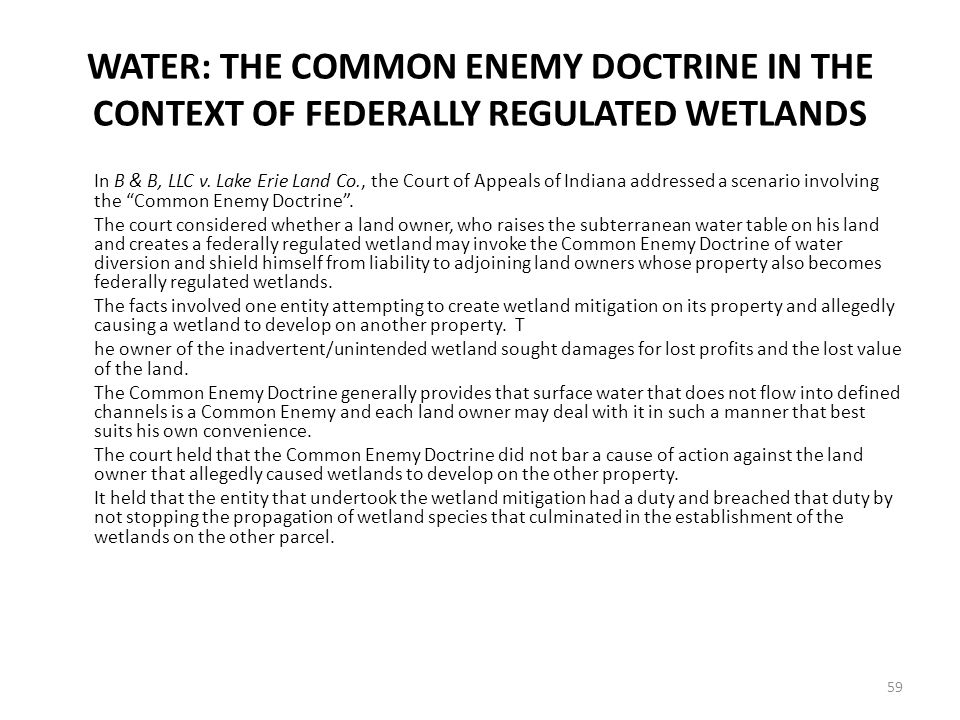 WATER: THE COMMON ENEMY DOCTRINE IN THE CONTEXT OF FEDERALLY REGULATED WETLANDS In B & B, LLC v.