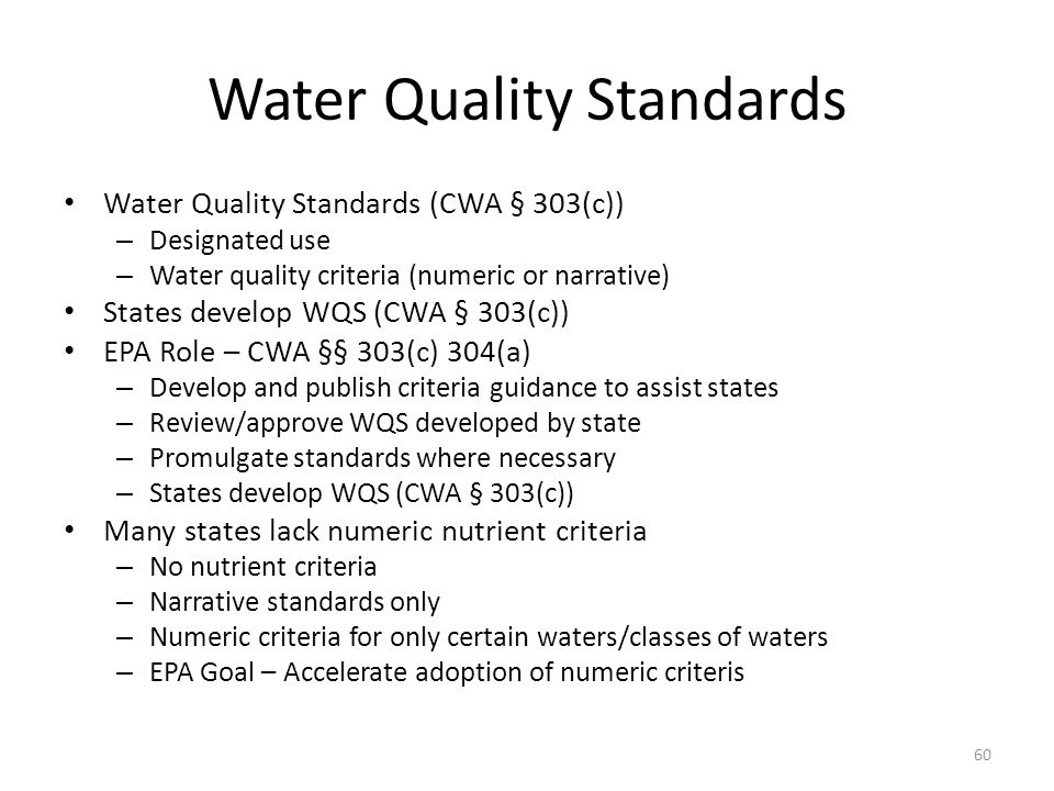 Water Quality Standards Water Quality Standards (CWA § 303(c)) – Designated use – Water quality criteria (numeric or narrative) States develop WQS (CWA § 303(c)) EPA Role – CWA §§ 303(c) 304(a) – Develop and publish criteria guidance to assist states – Review/approve WQS developed by state – Promulgate standards where necessary – States develop WQS (CWA § 303(c)) Many states lack numeric nutrient criteria – No nutrient criteria – Narrative standards only – Numeric criteria for only certain waters/classes of waters – EPA Goal – Accelerate adoption of numeric criteris 60