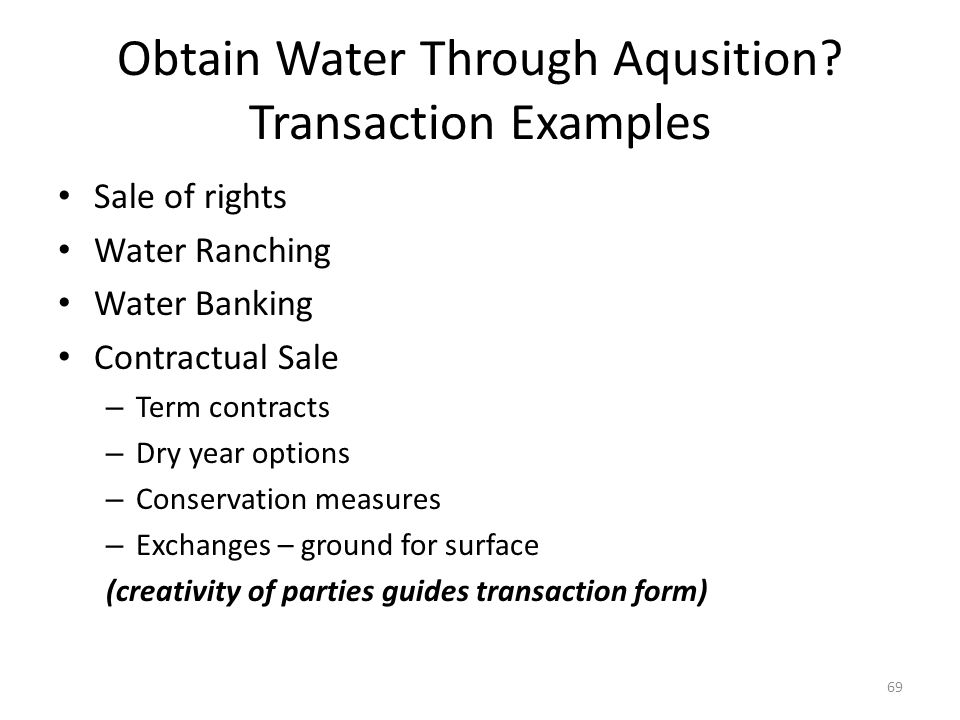 Obtain Water Through Aqusition.