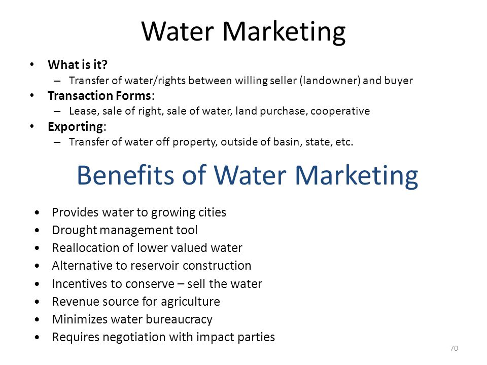 Water Marketing What is it.