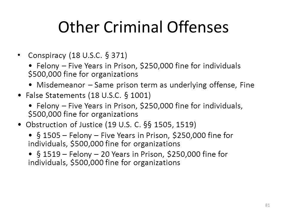 Other Criminal Offenses Conspiracy (18 U.S.C.