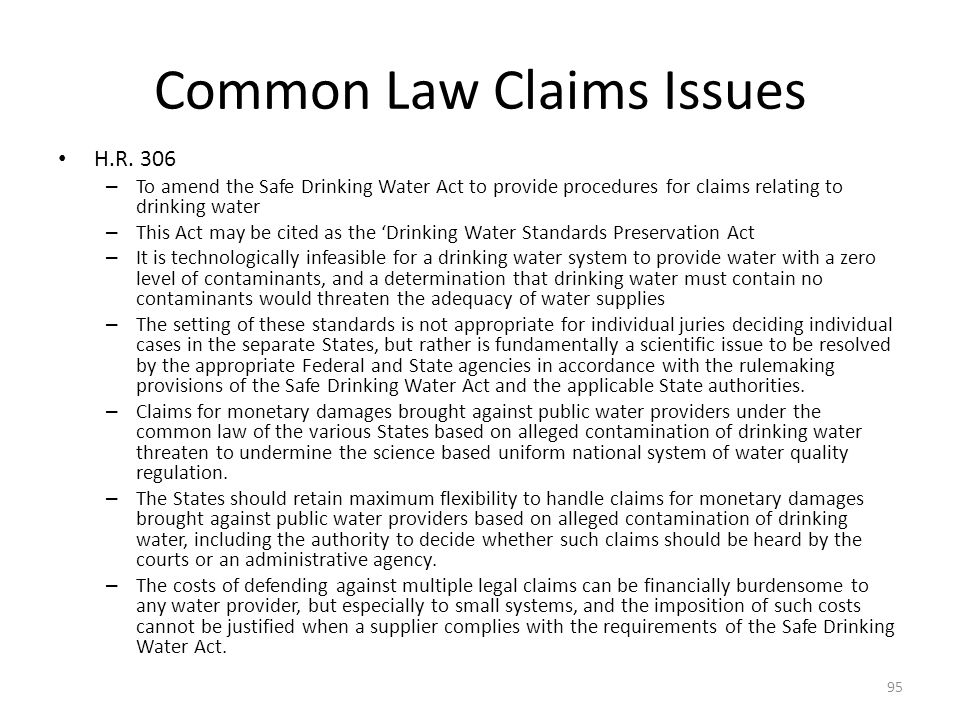 Common Law Claims Issues H.R.