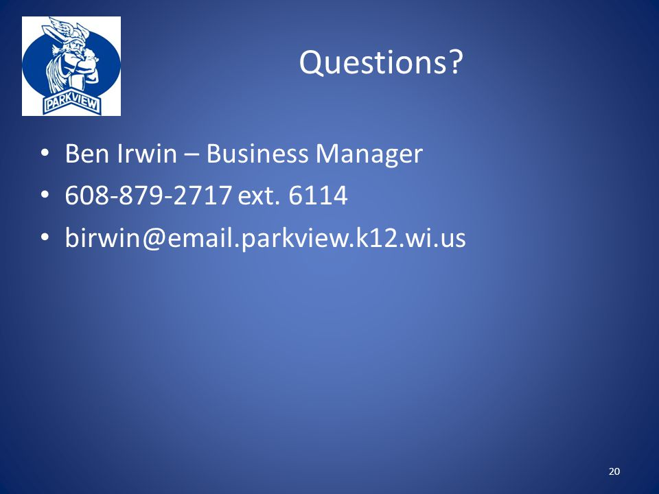 Questions Ben Irwin – Business Manager ext