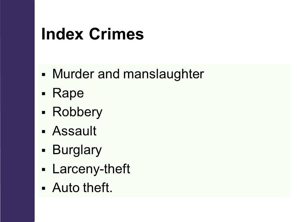 Index Crimes  Murder and manslaughter  Rape  Robbery  Assault  Burglary  Larceny-theft  Auto theft.