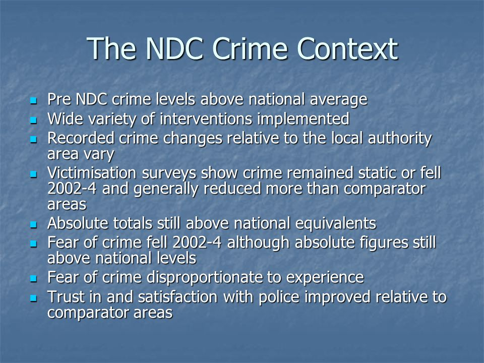 The NDC Crime Context Pre NDC crime levels above national average Pre NDC crime levels above national average Wide variety of interventions implemented Wide variety of interventions implemented Recorded crime changes relative to the local authority area vary Recorded crime changes relative to the local authority area vary Victimisation surveys show crime remained static or fell and generally reduced more than comparator areas Victimisation surveys show crime remained static or fell and generally reduced more than comparator areas Absolute totals still above national equivalents Absolute totals still above national equivalents Fear of crime fell although absolute figures still above national levels Fear of crime fell although absolute figures still above national levels Fear of crime disproportionate to experience Fear of crime disproportionate to experience Trust in and satisfaction with police improved relative to comparator areas Trust in and satisfaction with police improved relative to comparator areas