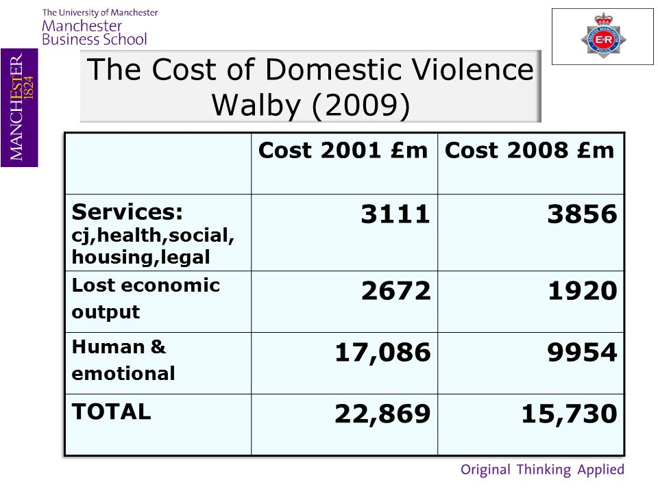 The Cost of Domestic Violence Walby (2009)