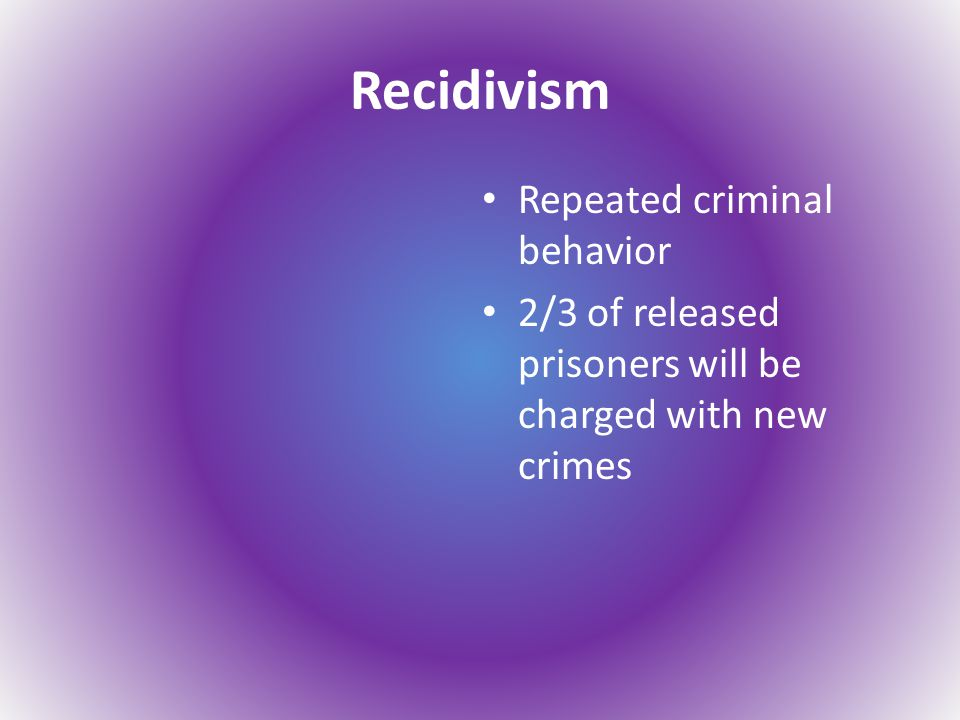 Recidivism Repeated criminal behavior 2/3 of released prisoners will be charged with new crimes
