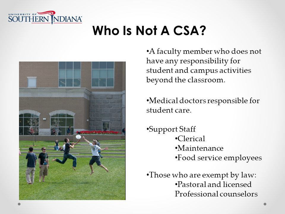 Who Is Not A CSA.