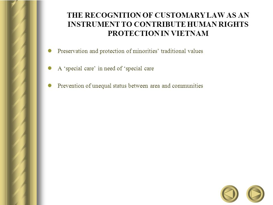THE RECOGNITION OF CUSTOMARY LAW AS AN INSTRUMENT TO CONTRIBUTE HUMAN RIGHTS PROTECTION IN VIETNAM Preservation and protection of minorities' traditional values A 'special care' in need of 'special care Prevention of unequal status between area and communities