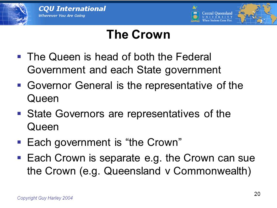 Copyright Guy Harley The Crown  The Queen is head of both the Federal Government and each State government  Governor General is the representative of the Queen  State Governors are representatives of the Queen  Each government is the Crown  Each Crown is separate e.g.