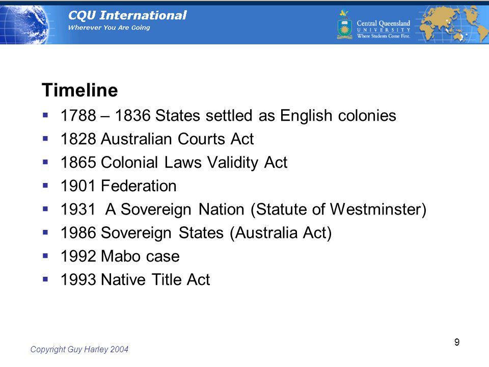 Copyright Guy Harley Timeline  1788 – 1836 States settled as English colonies  1828 Australian Courts Act  1865 Colonial Laws Validity Act  1901 Federation  1931 A Sovereign Nation (Statute of Westminster)  1986 Sovereign States (Australia Act)  1992 Mabo case  1993 Native Title Act