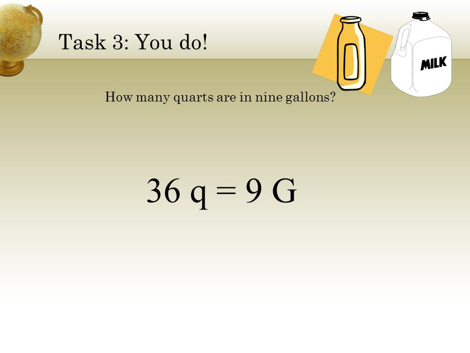 Task 2: We do. How many fluid ounces (fl oz) are in 2 quarts (q).