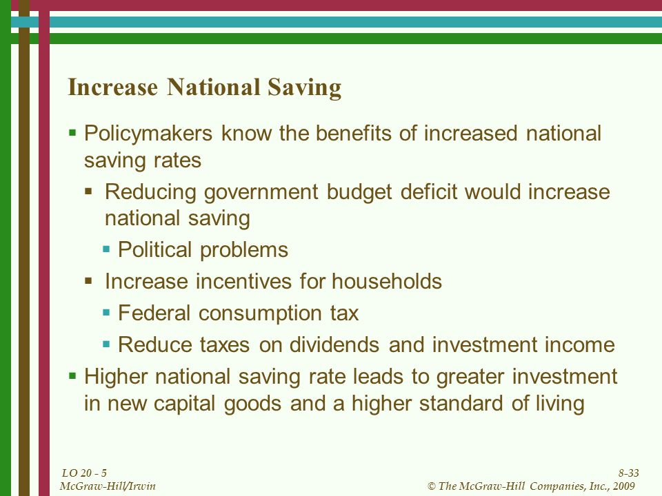 8-33 © The McGraw-Hill Companies, Inc., 2009 McGraw-Hill/Irwin LO Increase National Saving  Policymakers know the benefits of increased national saving rates  Reducing government budget deficit would increase national saving  Political problems  Increase incentives for households  Federal consumption tax  Reduce taxes on dividends and investment income  Higher national saving rate leads to greater investment in new capital goods and a higher standard of living