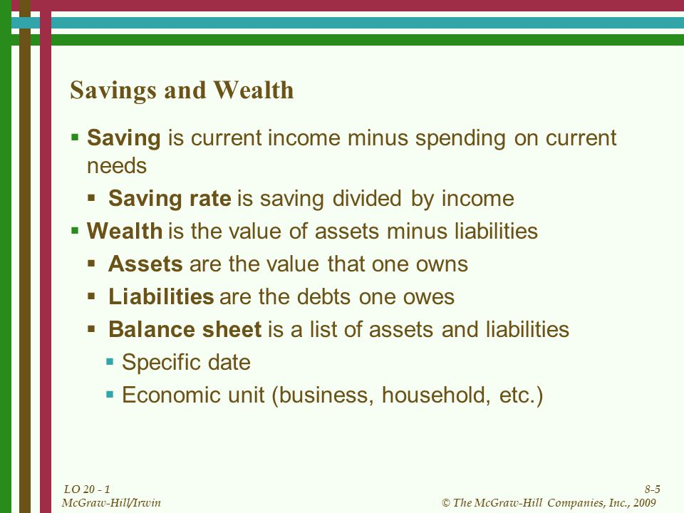 8-5 © The McGraw-Hill Companies, Inc., 2009 McGraw-Hill/Irwin LO Savings and Wealth  Saving is current income minus spending on current needs  Saving rate is saving divided by income  Wealth is the value of assets minus liabilities  Assets are the value that one owns  Liabilities are the debts one owes  Balance sheet is a list of assets and liabilities  Specific date  Economic unit (business, household, etc.)