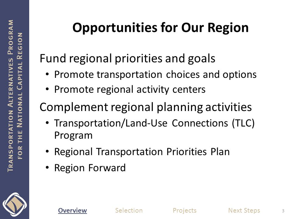 Overview Selection Projects Next Steps Opportunities for Our Region Fund regional priorities and goals Promote transportation choices and options Promote regional activity centers Complement regional planning activities Transportation/Land-Use Connections (TLC) Program Regional Transportation Priorities Plan Region Forward 3