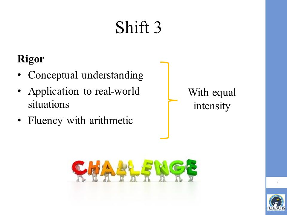 Shift 3 Rigor Conceptual understanding Application to real-world situations Fluency with arithmetic 7 With equal intensity