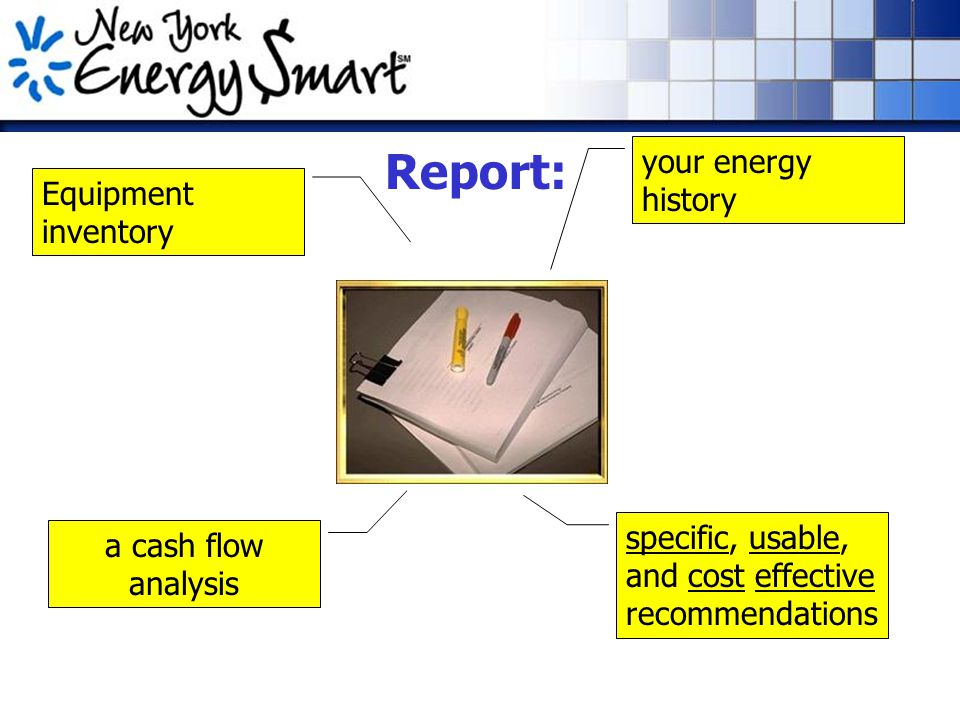 Report: your energy history a cash flow analysis specific, usable, and cost effective recommendations Equipment inventory