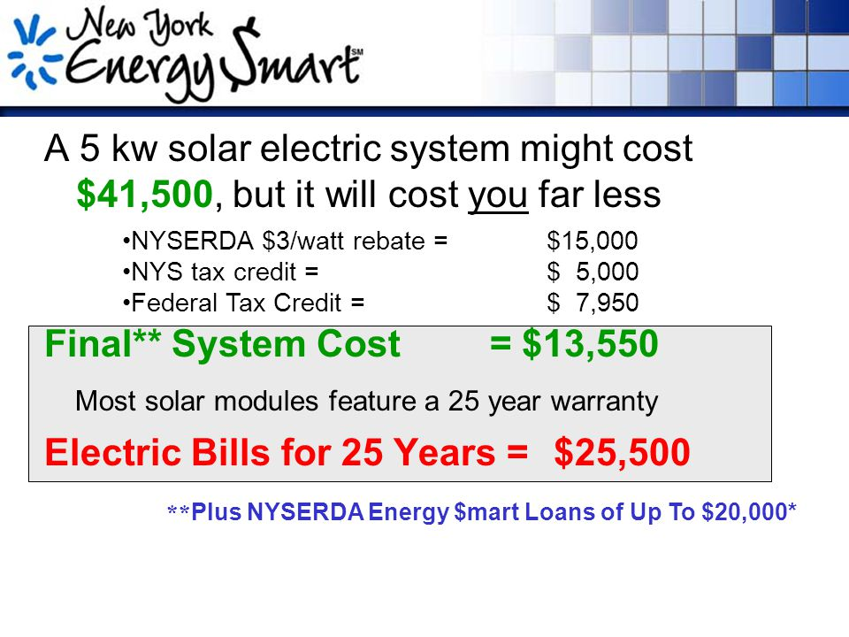 A 5 kw solar electric system might cost $41,500, but it will cost you far less Final** System Cost = $13,550 Most solar modules feature a 25 year warranty Electric Bills for 25 Years = $25,500 NYSERDA $3/watt rebate = $15,000 NYS tax credit = $ 5,000 Federal Tax Credit = $ 7,950 ** Plus NYSERDA Energy $mart Loans of Up To $20,000*