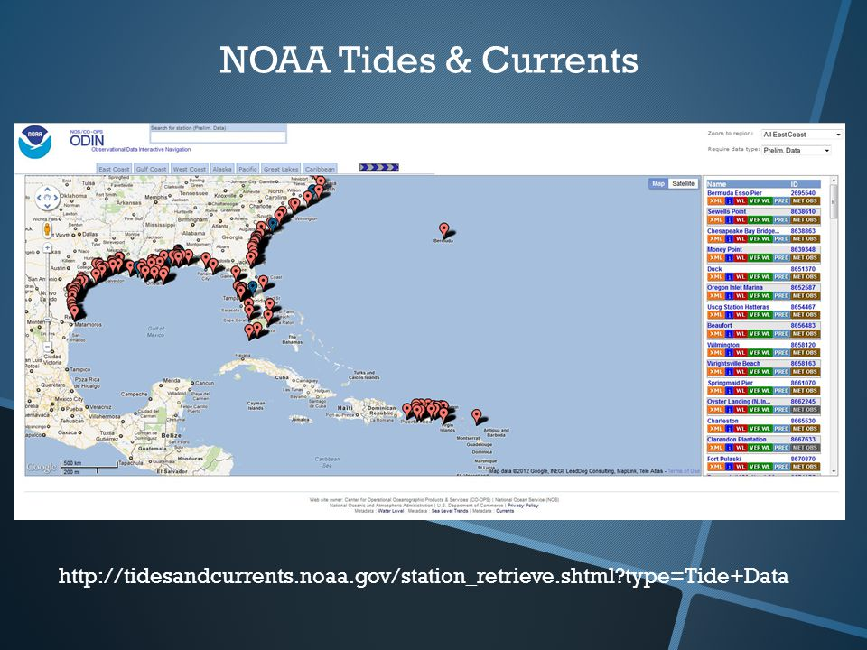 NOAA Tides & Currents   type=Tide+Data
