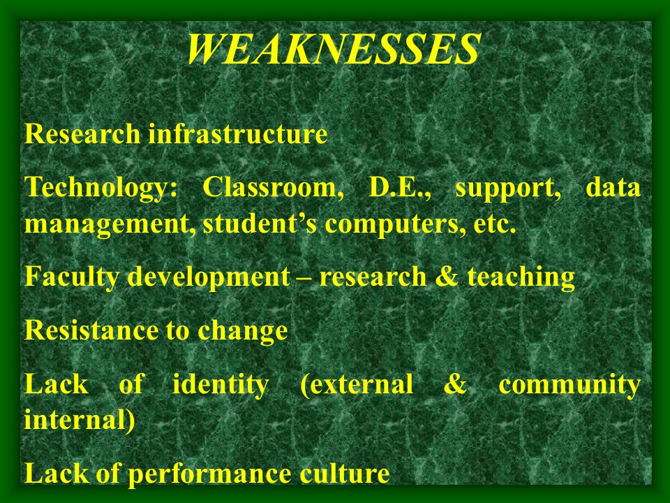 WEAKNESSES Research infrastructure Technology: Classroom, D.E., support, data management, student's computers, etc.