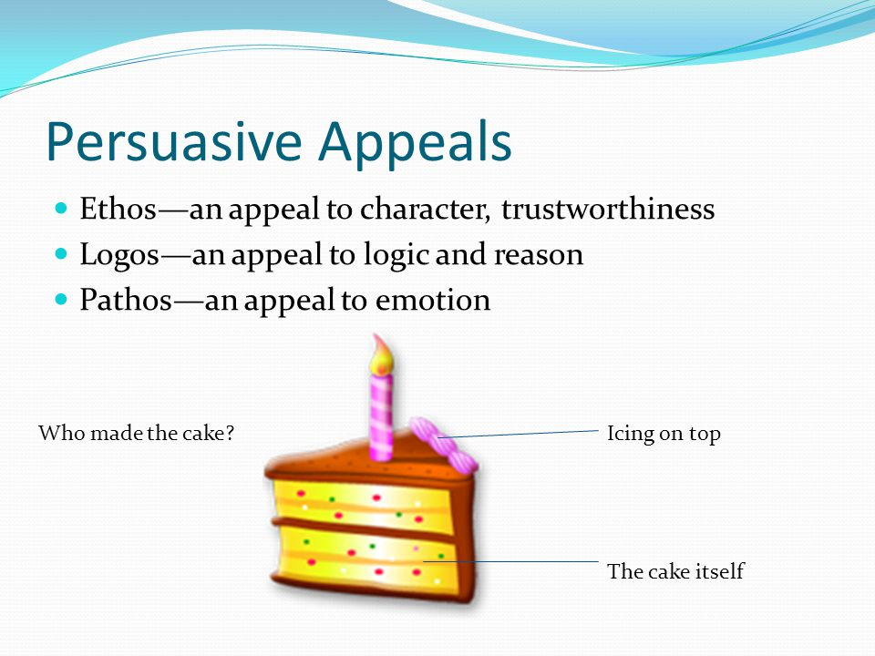 Persuasive Appeals Ethos—an appeal to character, trustworthiness Logos—an appeal to logic and reason Pathos—an appeal to emotion Who made the cake Icing on top The cake itself