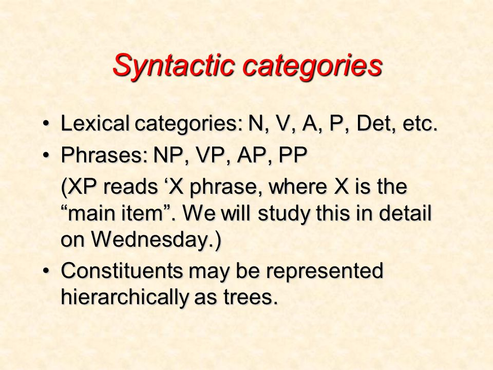 Syntactic categories Lexical categories: N, V, A, P, Det, etc.Lexical categories: N, V, A, P, Det, etc.