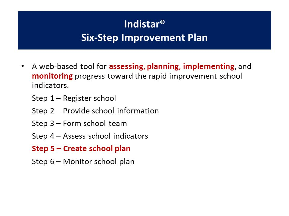 Indistar® Six-Step Improvement Plan A web-based tool for assessing, planning, implementing, and monitoring progress toward the rapid improvement school indicators.