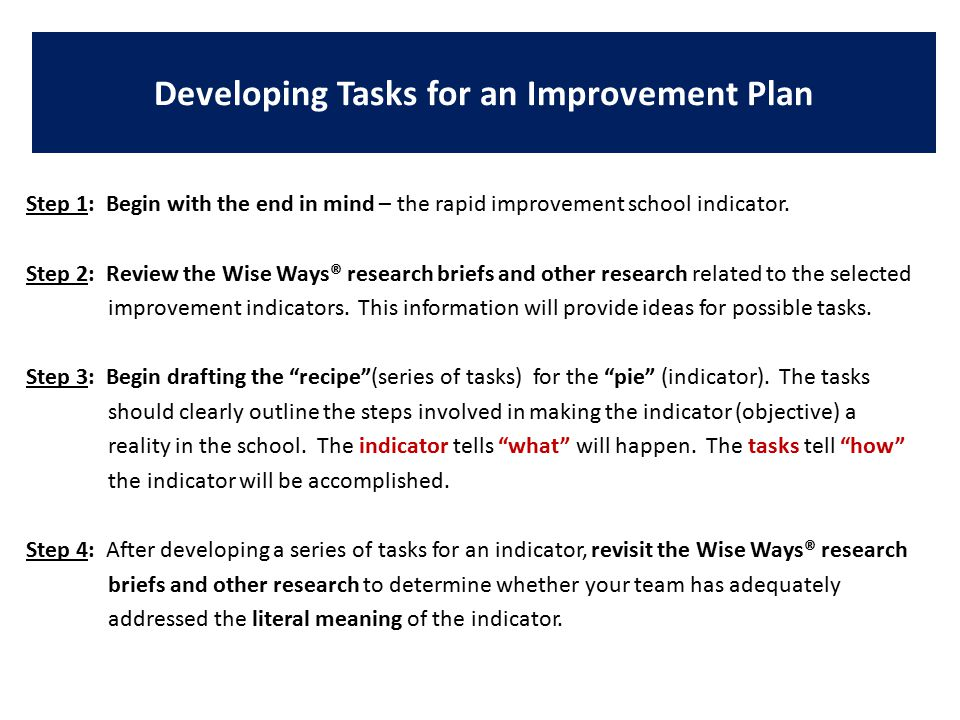 Step 1: Begin with the end in mind – the rapid improvement school indicator.