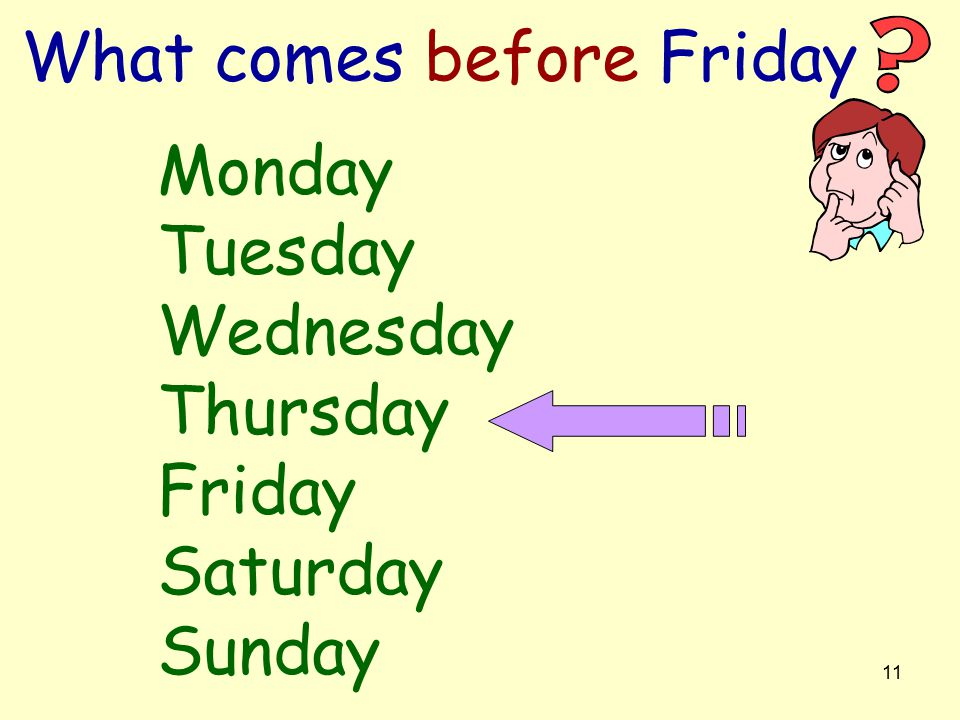 10 Can you say the days of the week in order.