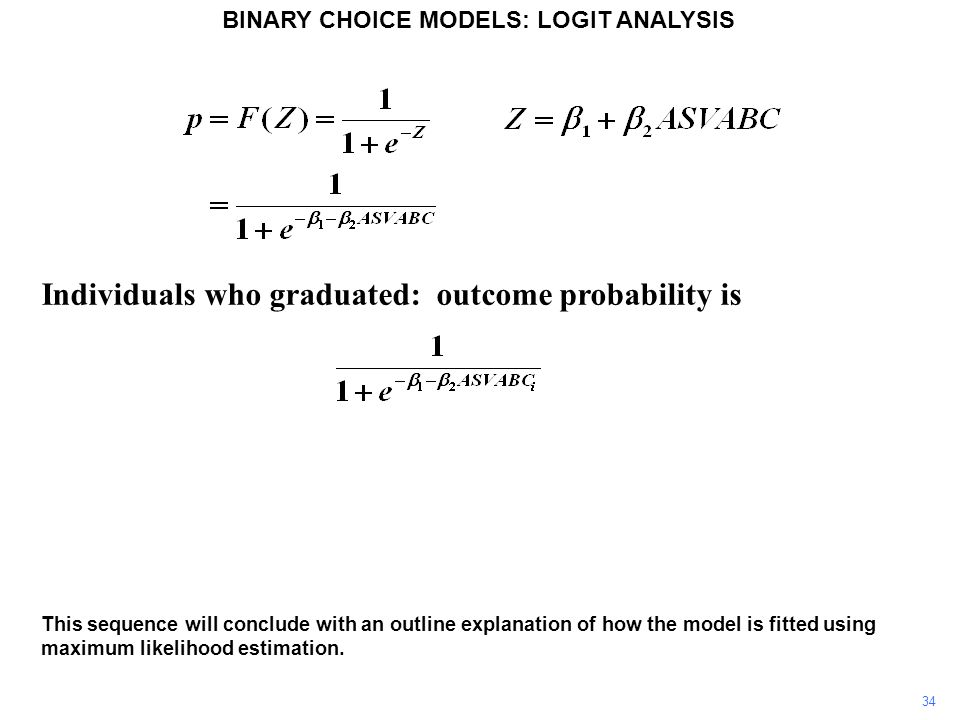 Individuals who graduated: outcome probability is 34 This sequence will conclude with an outline explanation of how the model is fitted using maximum likelihood estimation.