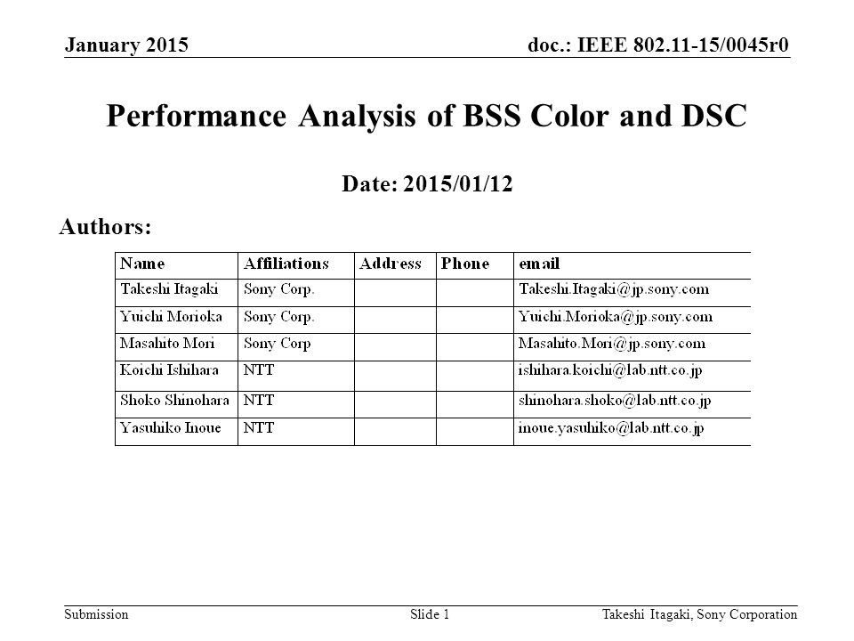 doc.: IEEE /0045r0 Submission January 2015 Takeshi Itagaki, Sony CorporationSlide 1 Performance Analysis of BSS Color and DSC Date: 2015/01/12 Authors: