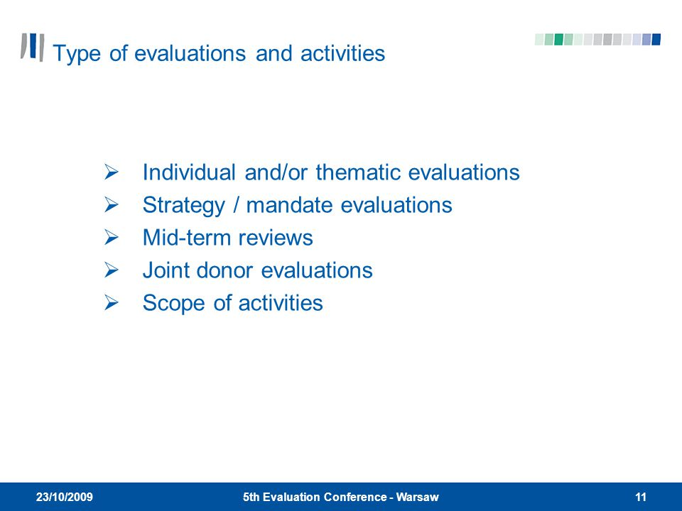 115th Evaluation Conference - Warsaw 23/10/2009  Individual and/or thematic evaluations  Strategy / mandate evaluations  Mid-term reviews  Joint donor evaluations  Scope of activities Type of evaluations and activities