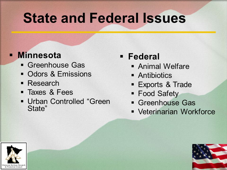 State and Federal Issues  Minnesota  Greenhouse Gas  Odors & Emissions  Research  Taxes & Fees  Urban Controlled Green State  Federal  Animal Welfare  Antibiotics  Exports & Trade  Food Safety  Greenhouse Gas  Veterinarian Workforce