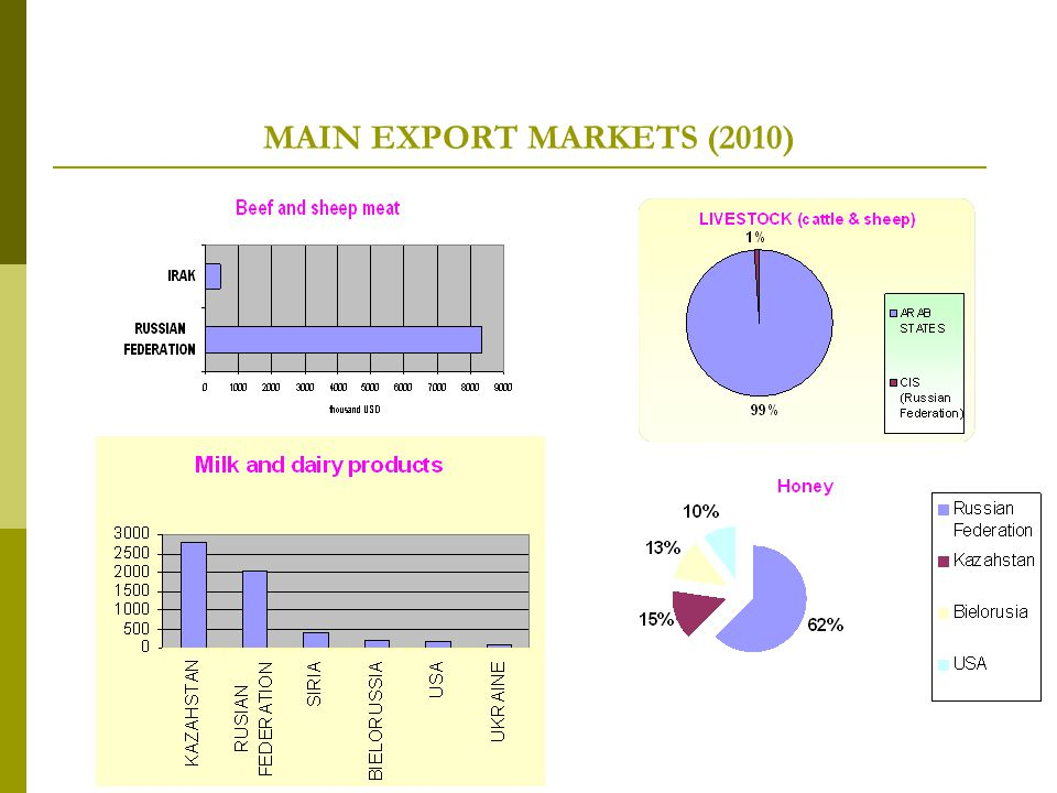 MAIN EXPORT MARKETS (2010)