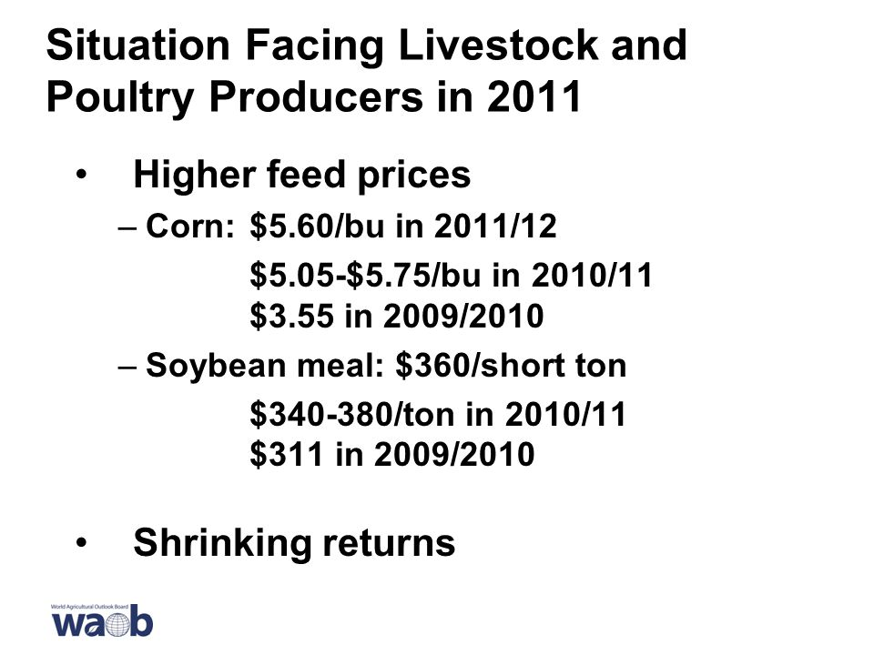Situation Facing Livestock and Poultry Producers in 2011 Higher feed prices –Corn:$5.60/bu in 2011/12 $5.05-$5.75/bu in 2010/11 $3.55 in 2009/2010 –Soybean meal: $360/short ton $ /ton in 2010/11 $311 in 2009/2010 Shrinking returns