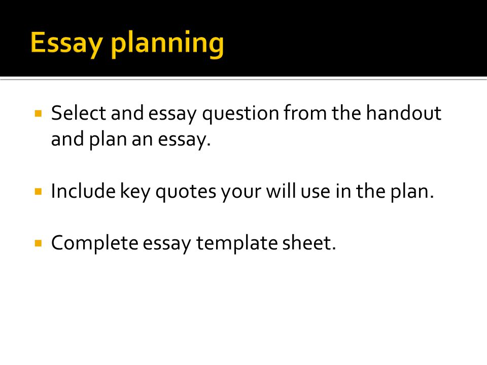  Select and essay question from the handout and plan an essay.