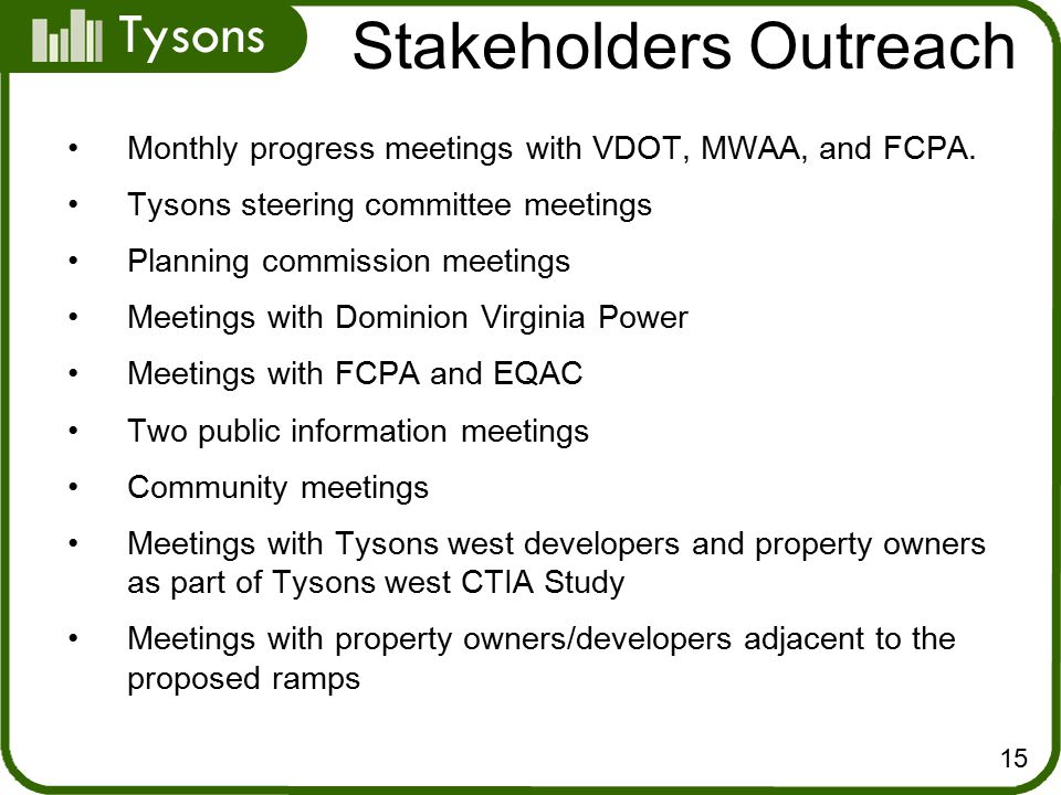 Tysons Monthly progress meetings with VDOT, MWAA, and FCPA.
