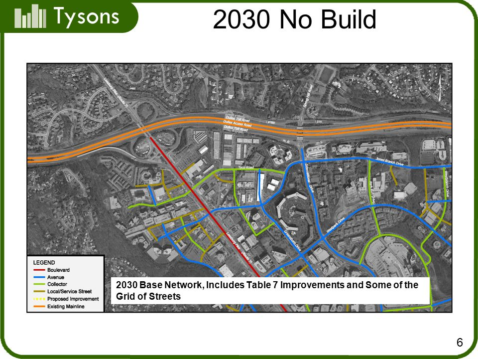 Tysons 2030 No Build Base Network, Includes Table 7 Improvements and Some of the Grid of Streets