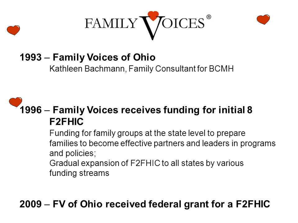 1993 – Family Voices of Ohio Kathleen Bachmann, Family Consultant for BCMH 1996 – Family Voices receives funding for initial 8 F2FHIC Funding for family groups at the state level to prepare families to become effective partners and leaders in programs and policies; Gradual expansion of F2FHIC to all states by various funding streams 2009 – FV of Ohio received federal grant for a F2FHIC