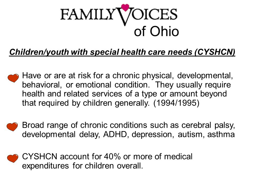 Children/youth with special health care needs (CYSHCN) Have or are at risk for a chronic physical, developmental, behavioral, or emotional condition.