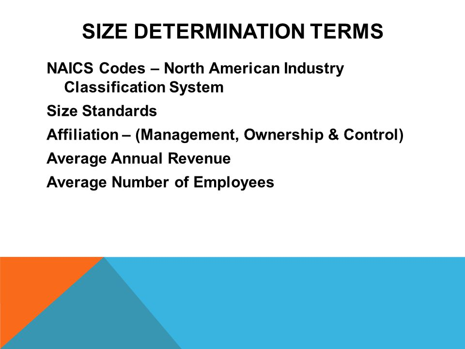 SIZE DETERMINATION TERMS NAICS Codes – North American Industry Classification System Size Standards Affiliation – (Management, Ownership & Control) Average Annual Revenue Average Number of Employees