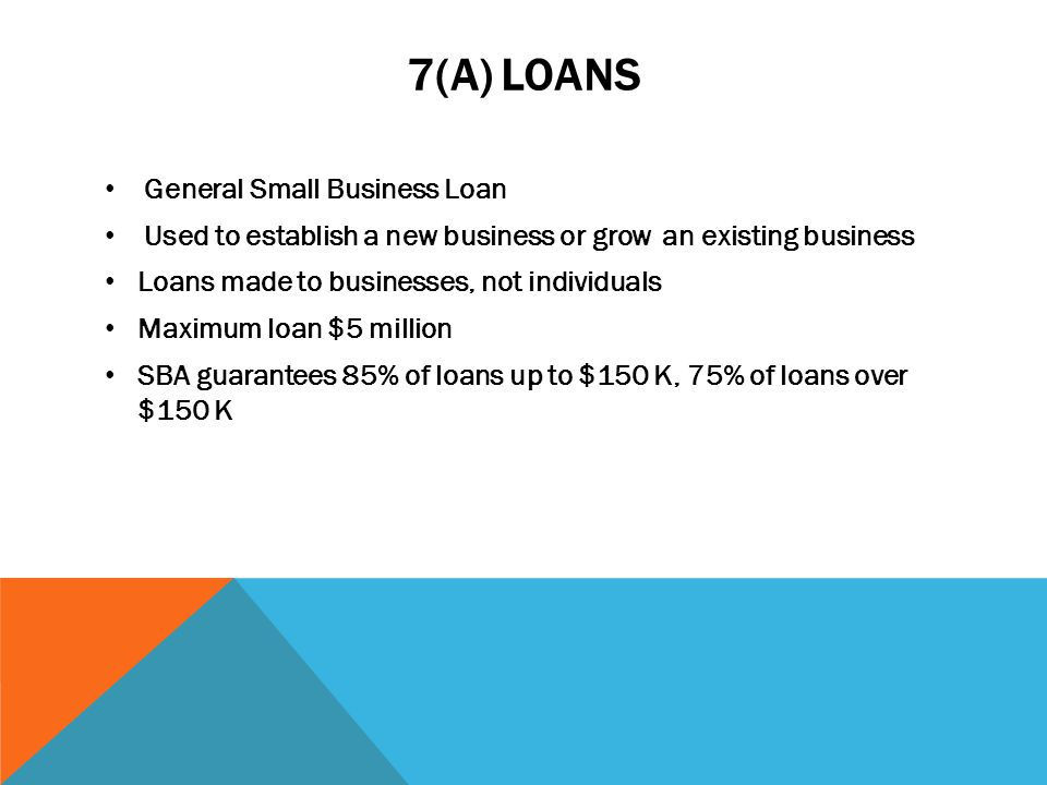 7(A) LOANS General Small Business Loan Used to establish a new business or grow an existing business Loans made to businesses, not individuals Maximum loan $5 million SBA guarantees 85% of loans up to $150 K, 75% of loans over $150 K