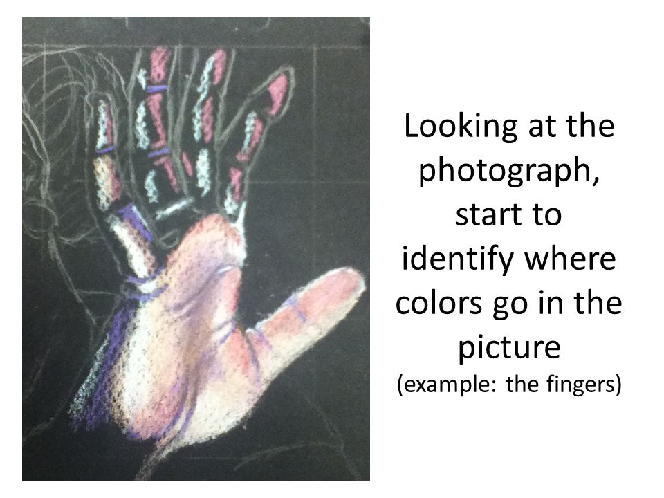 Looking at the photograph, start to identify where colors go in the picture (example: the fingers)