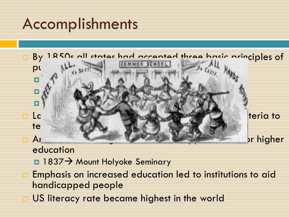 education reform movement during 1825 1850 During the time period between 1825-1850, ideals of equality, liberty and the pursuit of happiness defined democracy and were diffused among the masses of america through a series of reform movements that emerged in the antebellum era.